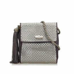 Gucci Silver Textured Fabric Crossbody Bag