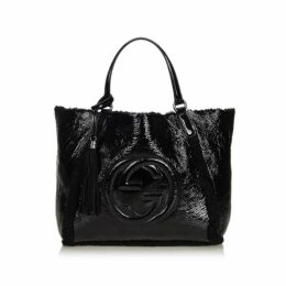 Gucci Black Patent Leather Soho Cellarius Mouton Tote