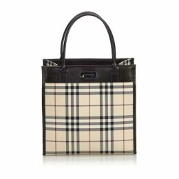 Burberry Brown House Check Jacquard Tote Bag