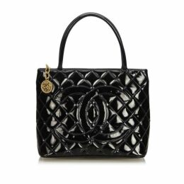 Chanel Black Patent Leather Medallion Tote