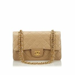Chanel Brown Classic Small Lambskin Leather Double Flap Bag