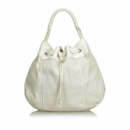 Prada White Perforated Leather Hobo