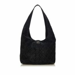 Chanel Black Quilted Suede Shoulder Bag