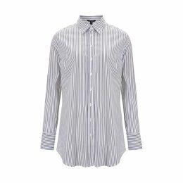 Baukjen - Claudia Shirt In White Navy Fine Stripe