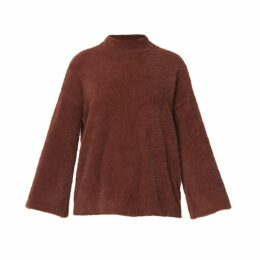 PAISIE - High Neck Fluffy Jumper With Wide Sleeves In Maroon