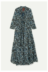 Yvonne S - Hippy Tiered Printed Cotton-voile Maxi Dress - Blue
