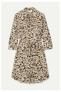 L'Agence - Stella Belted Leopard-print Silk Mini Dress - Leopard print