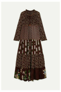 Yvonne S - Hippy Tiered Printed Crepe De Chine Maxi Dress - Burgundy