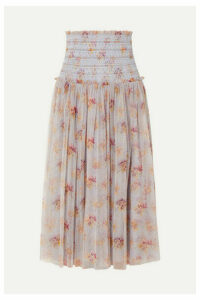 Needle & Thread - Think Of Me Shirred Floral-print Tulle Midi Skirt - Sky blue