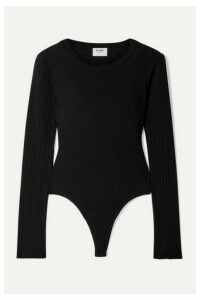 RE/DONE - Ribbed Cotton-jersey Thong Bodysuit - Black