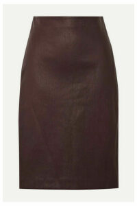Theory - Leather Pencil Skirt - Burgundy