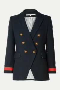 Veronica Beard - Timber Dickey Double-breasted Grosgrain-trimmed Herringbone Woven Blazer - Navy