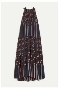 Yvonne S - Hippy Tiered Printed Cotton Maxi Dress - Purple