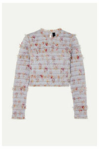 Needle & Thread - Think Of Me Shirred Floral-print Tulle Top - Sky blue