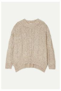 LOULOU STUDIO - Oversized Cable-knit Mélange Cotton-blend Sweater - Beige