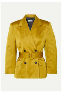 Dries Van Noten - Bounty Double-breasted Belted Metallic Faille Blazer - Mustard