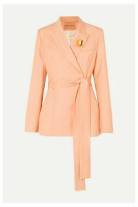 Maggie Marilyn - + Net Sustain Just Getting Started Belted Organic Wool-twill Blazer - Peach