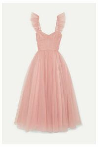 Monique Lhuillier - Ruffled Ruched Tulle And Silk Crepe De Chine Gown - Pastel pink