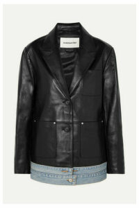 Andersson Bell - Denim-trimmed Leather Blazer - Black