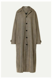 Co - Checked Woven Trench Coat - Brown
