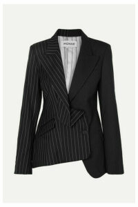 Monse - Asymmetric Paneled Pinstriped Wool Blazer - Black