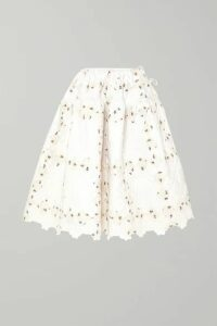 Cecilie Bahnsen - Rosie Quilted Cotton-jacquard Midi Skirt - White