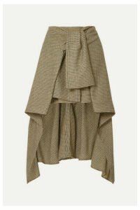 Chloé - Asymmetric Houndstooth Wool Skirt - Green