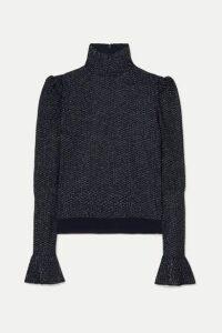 Chloé - Metallic Knitted Turtleneck Top - Navy