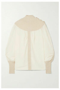 Chloé - Ribbed Wool-blend And Silk-chiffon Turtleneck Top - White