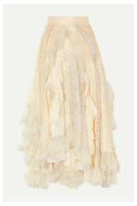 Zimmermann - Sabotage Asymmetric Ruffled Metallic Lace, Tulle And Crepe Skirt - Ivory