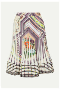 Tory Burch - Pleated Printed Crepe Skirt - Ivory
