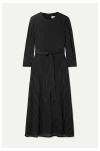 Cefinn - Belted Striped Voile Midi Dress - Navy