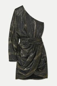 Redemption - One-sleeve Draped Metallic Silk-blend Jacquard Mini Dress - Silver