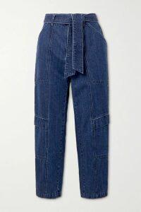 Co - Belted Wool-blend Midi Dress - Dark gray