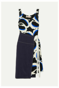 Marni - Paneled Printed Cady Dress - Black