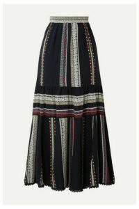 Derek Lam - Lace-trimmed Tiered Printed Silk Midi Skirt - Navy