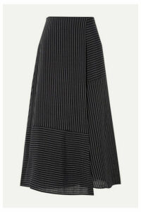 Cefinn - Asymmetric Striped Voile Midi Skirt - Navy