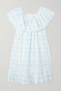 Cefinn - Asymmetric Striped Voile Midi Skirt - Navy