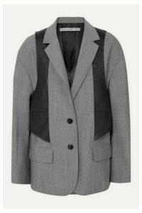 Alexander Wang - Layered Wool-blend And Leather Blazer - Gray