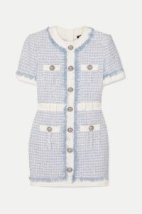 Balmain - Embellished Tweed Mini Dress - Blue