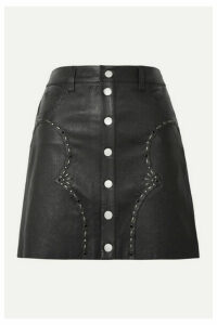 AMIRI - Embellished Leather Mini Skirt - Black