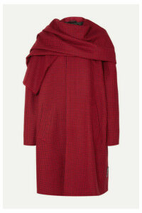 Balenciaga - Draped Houndstooth Wool Coat - Red