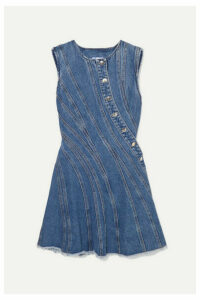 Mugler - Frayed Paneled Denim Mini Dress - Blue