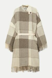 Jil Sander - Belted Fringed Checked Wool-twill Coat - Gray