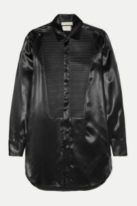 Bottega Veneta - Pleated Ribbed Satin Shirt - Black