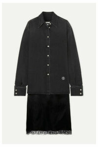 MM6 Maison Margiela - Embroidered Denim And Lace-trimmed Satin Shirt And Skirt Set - Black