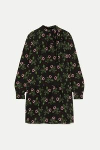 Valentino - Pussy-bow Tiered Floral-print Silk Crepe De Chine Mini Dress - Black