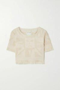 MM6 Maison Margiela - Distressed Printed Bleached Denim Mini Dress - Light denim