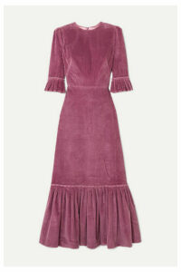 The Vampire's Wife - Festival Ruffled Cotton-corduroy Maxi Dress - Purple