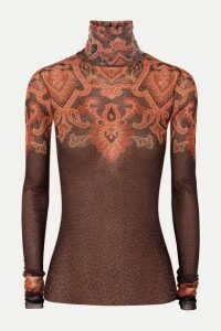 Etro - Printed Stretch-tulle Turtleneck Top - Brown